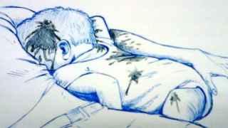 Una ilustración reproduce el asesinato del bebé Marcos Miguel Pano Colón en las redes sociales.