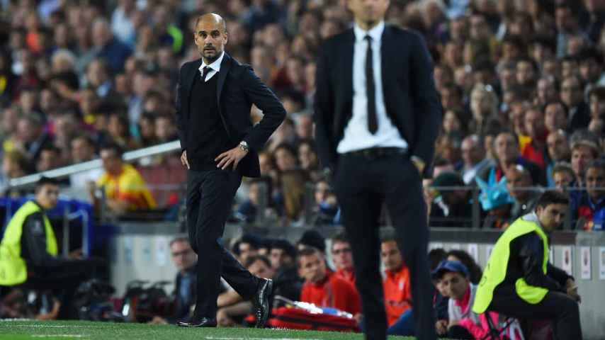 Luis Enrique y Guardiola en el Bayern - Barcelona de Champions