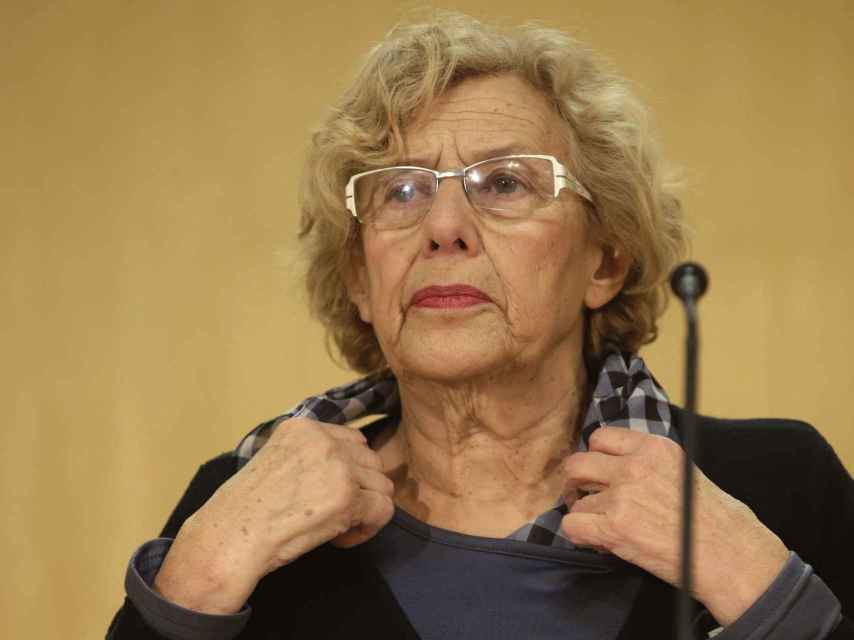 La alcaldesa de Madrid, Manuela Carmena, durante la comparecencia del miércoles.