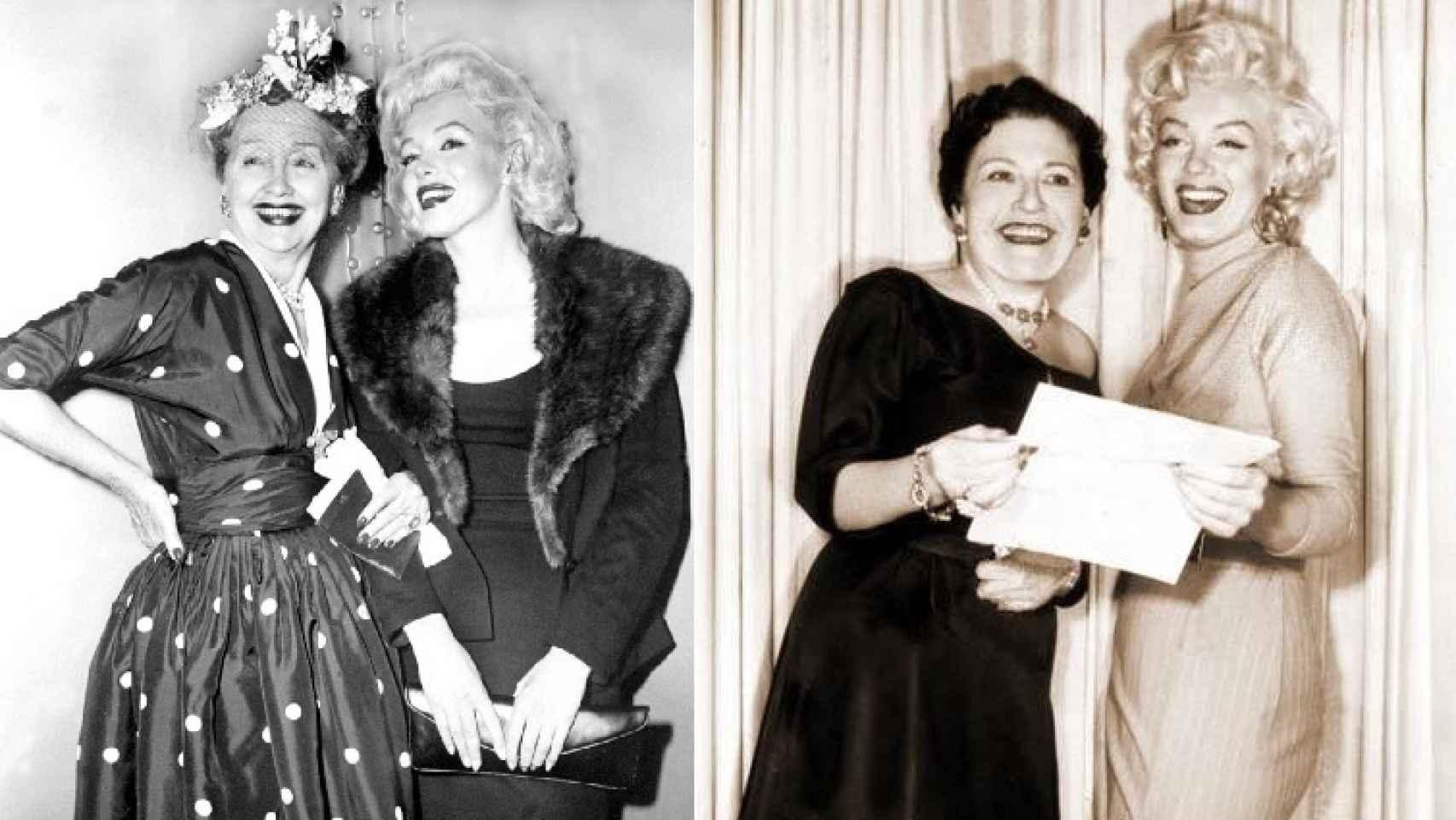Las cronistas Hopper y Parsons acompañadas de Marilyn Monroe