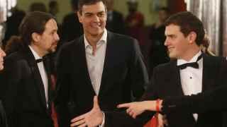 Pablo Iglesias, Pedro Sánchez y Albert Rivera en la gala de los Goya.