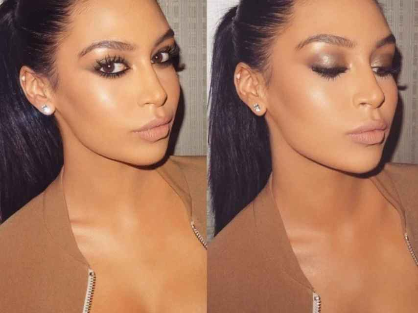 Cuando se maquilla como Kim se acentúa el parecido