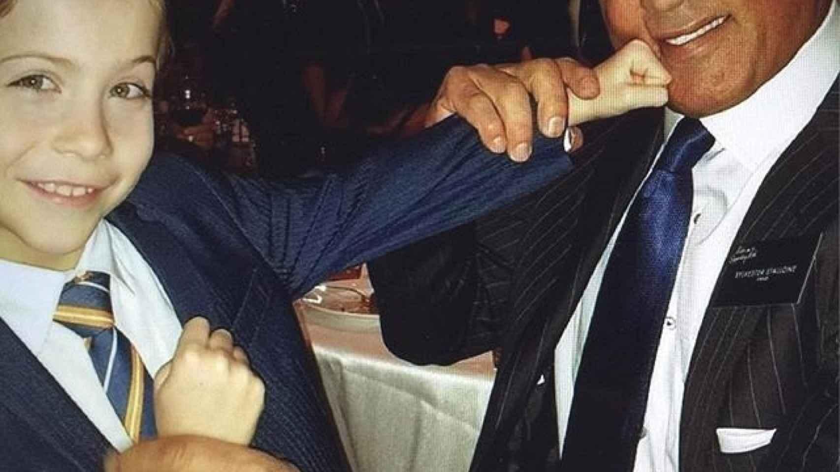 Los nominados Jacob Tremblay y Sylvester Stallone  en la cena de nominados