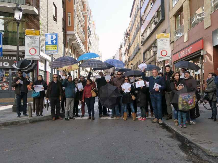 Algunos afectados por la APR de Ópera se concentraron el 7 de febrero en la calle Leganitos