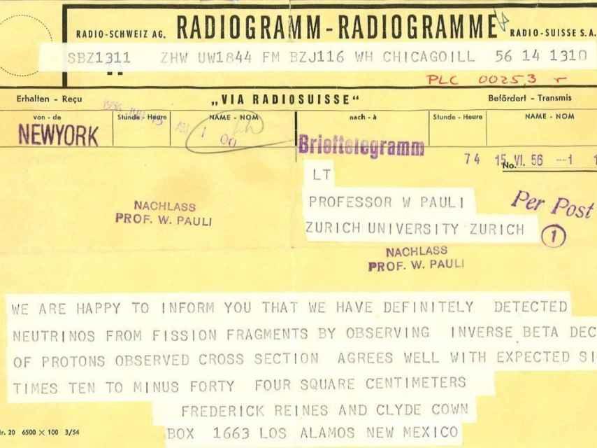 Telegrama de Reines y Cowan.