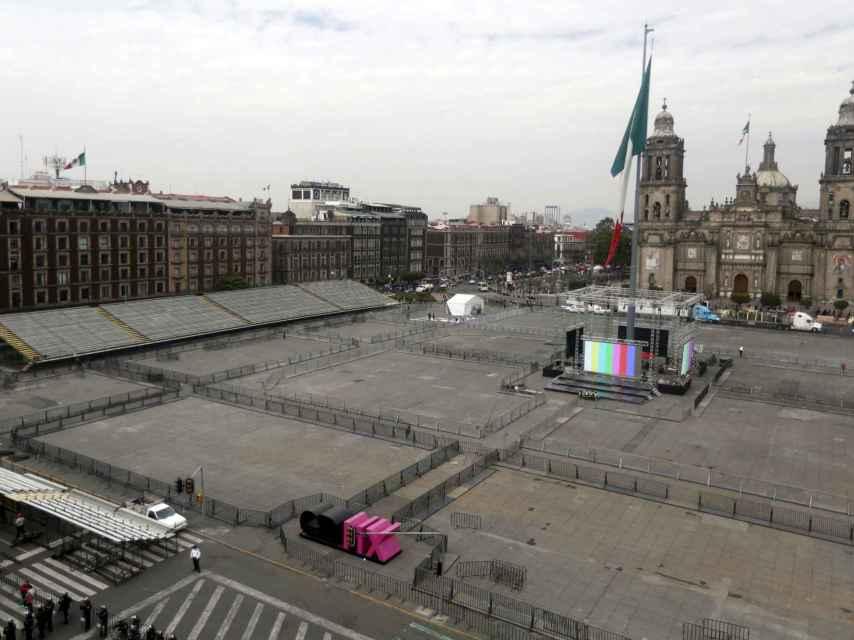 El Zócalo de Ciudad de México, antes de la llegada del Papa.