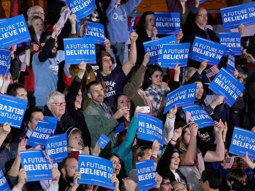 Un futuro en el que creer es uno de los lemas de Sanders.
