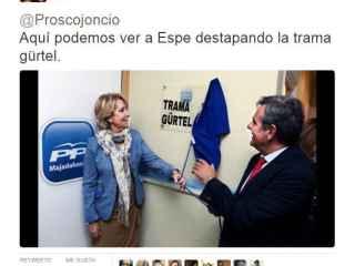 Uno de los memes que bromea sobre cuándo Esperanza Aguirre 'descubrió la trama Gürtel'