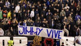 Pancarta homenaje al hincha deportivista 'Jimmy'