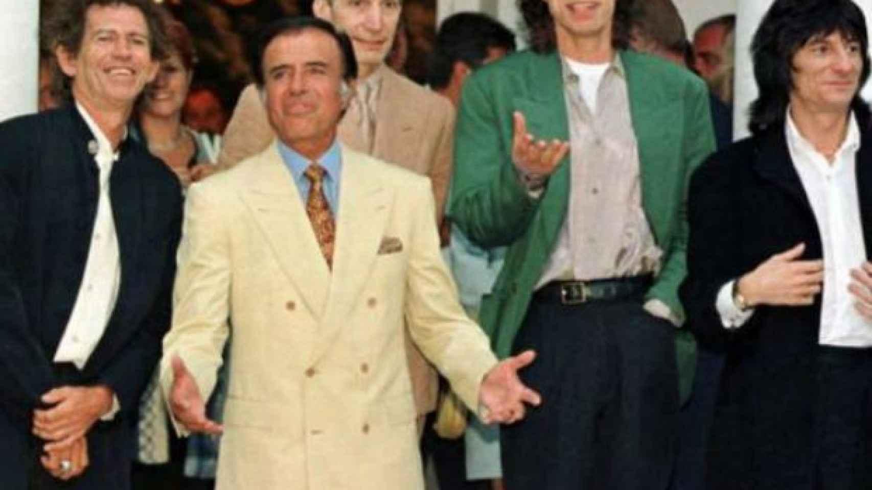 The Rolling Stones con el presidente Menem en 1995 durante su visita a Argentina