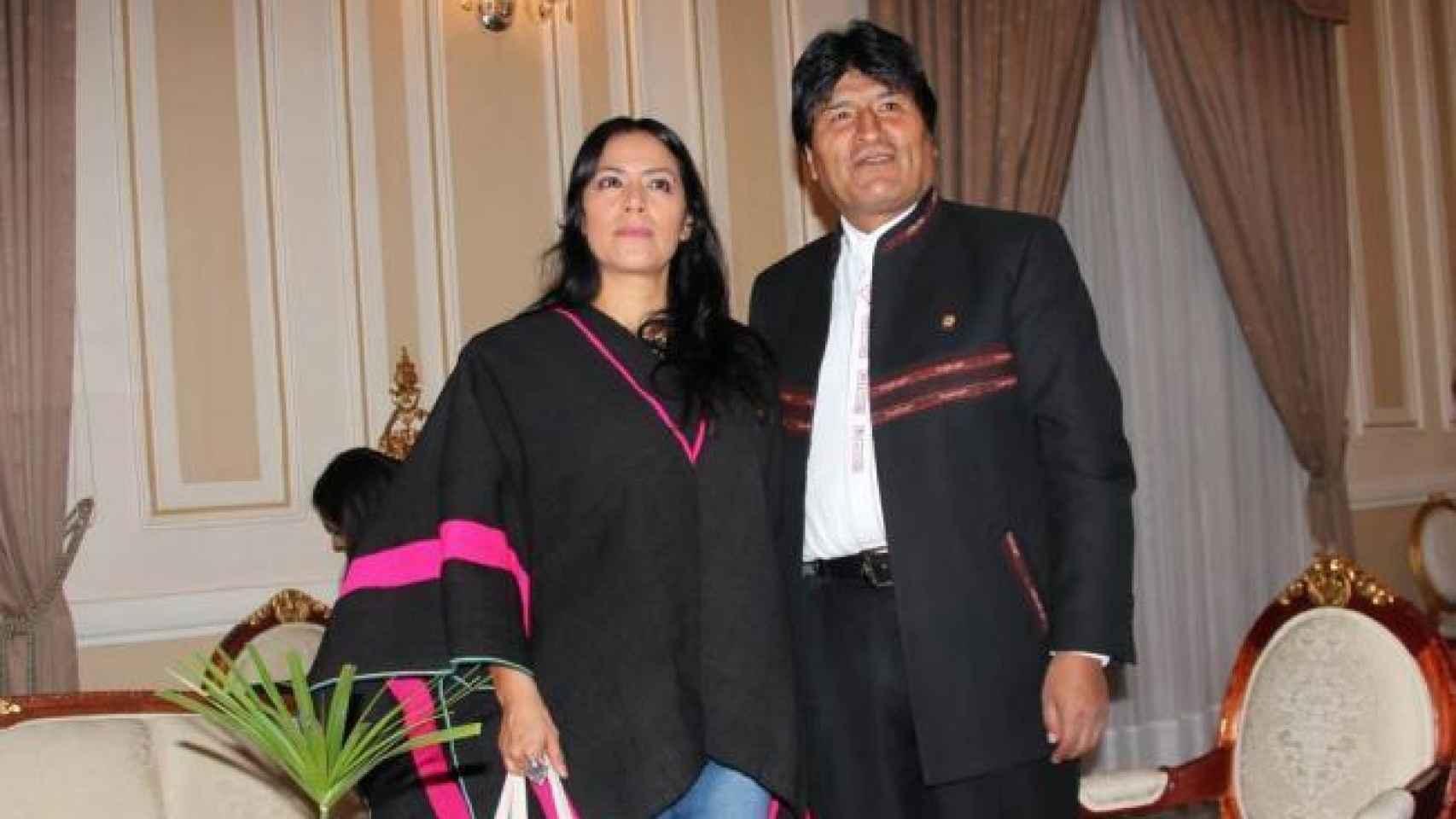 Evo Morales y Lila Downs durante el encuentro en el palacio Palacio de Gobierno de La Paz (Bolivia)