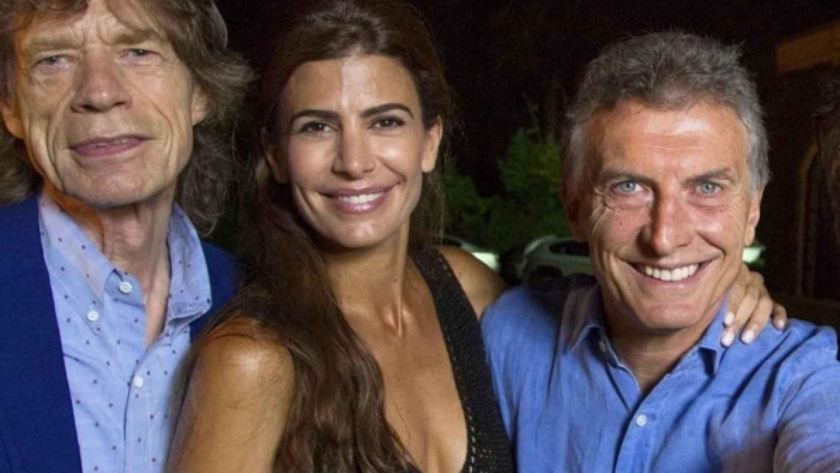 Mick Jagger, Juliana Awada y su esposo el presidente Macri