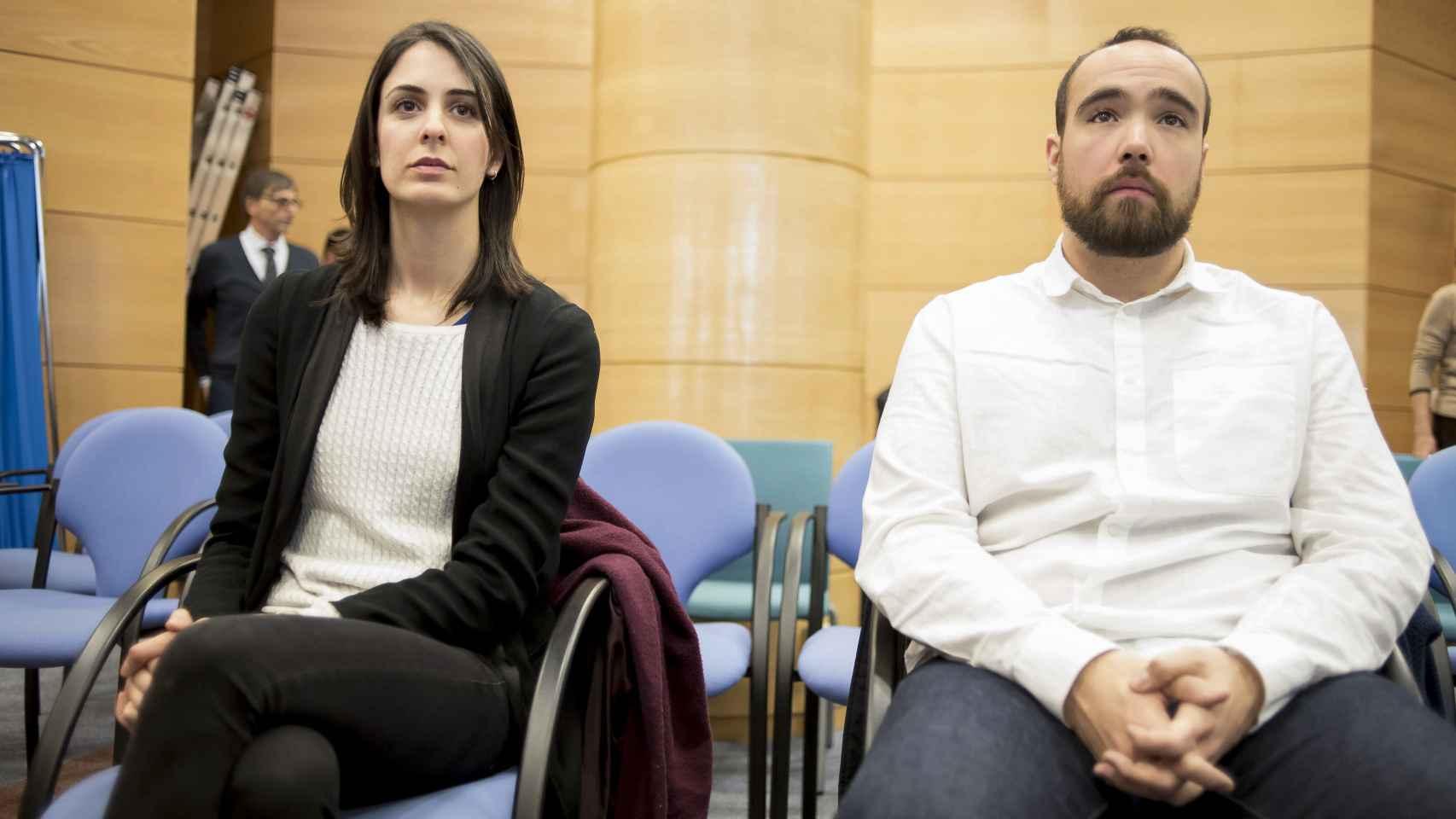 Rita Maestre y Héctor Meleiro en un momento del juicio