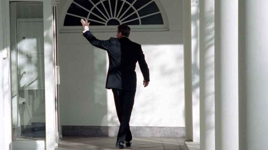 Reagan en su último día en la Casa Blanca.