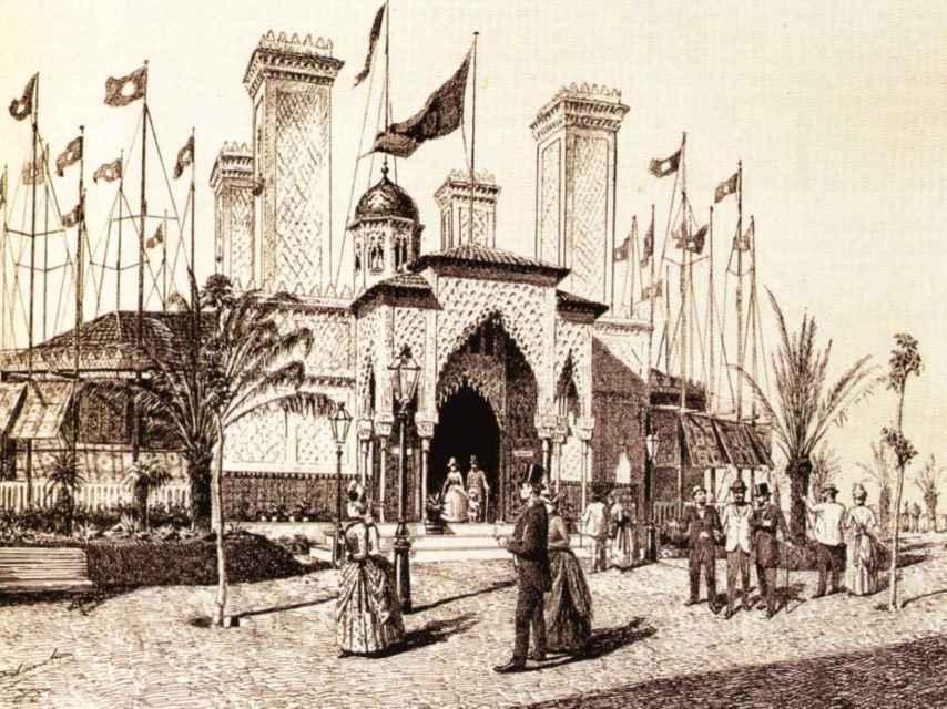 Pabellón de la CTE en la Exposición Universal de Barcelona de 1888, diseñado por Gaudí.