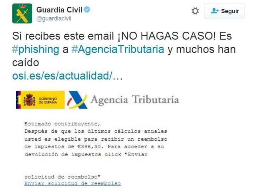 El correo fraudulento de la Agencia Tributaria detectado por la Guardia Civil.