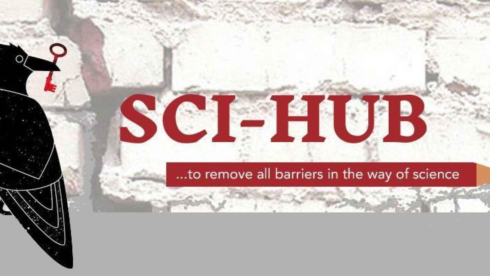 Logotipo de Sci-Hub el mayor portal pirata de papers del mundo.