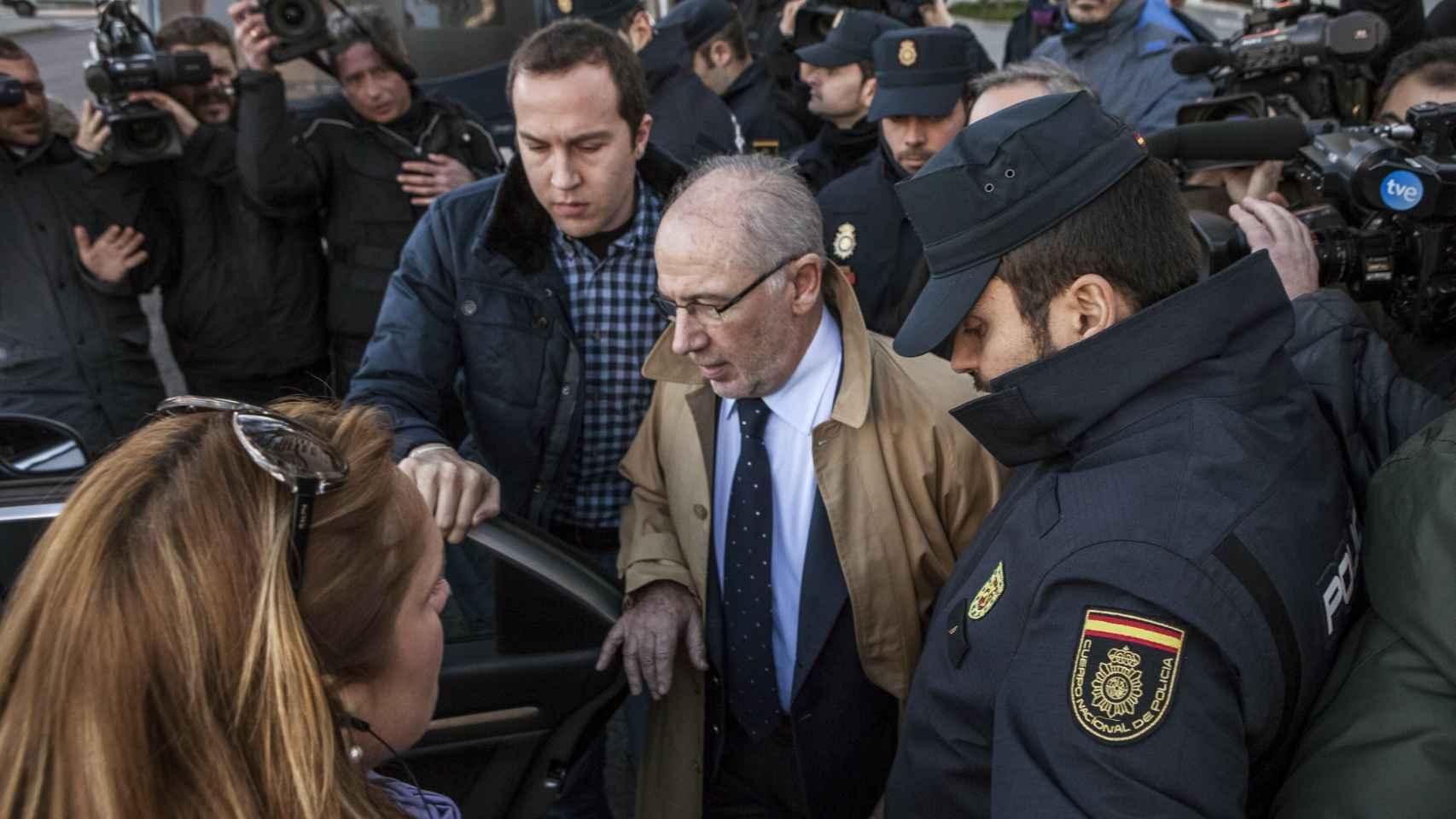 Rodrigo Rato, este viernes a su salida de los Juzgados de Plaza de Castilla