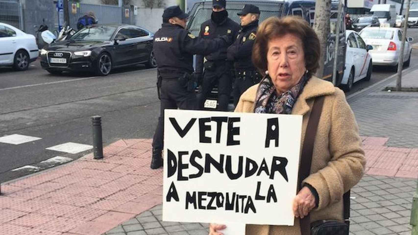La imagen de la manifestante  tomada por José María Garrido de 'El Plural'.