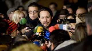 Pablo Iglesias en una intervención ante los medios de comunicación.