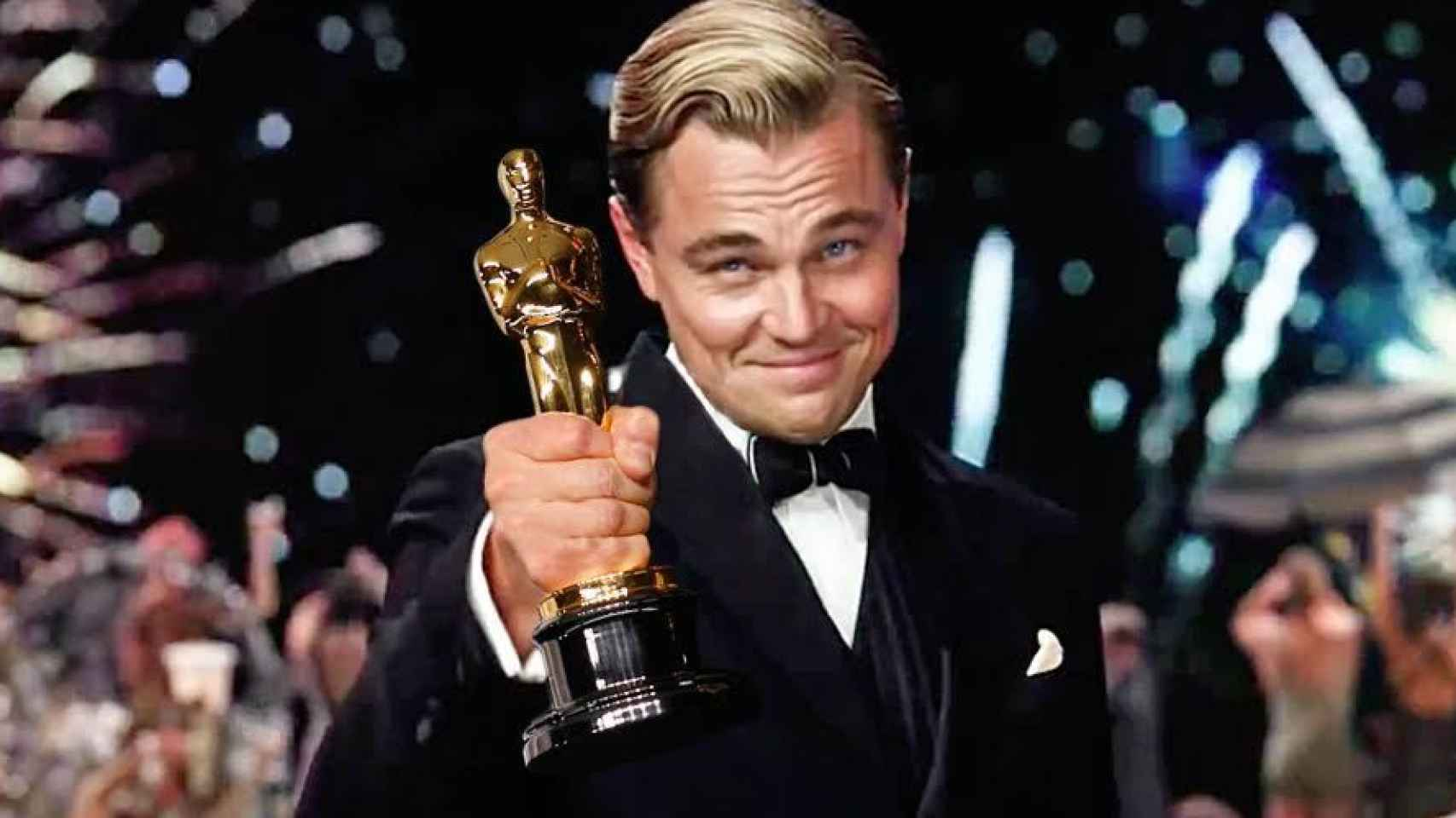 Leonardo DiCaprio en un montaje en el Gran Gatsby