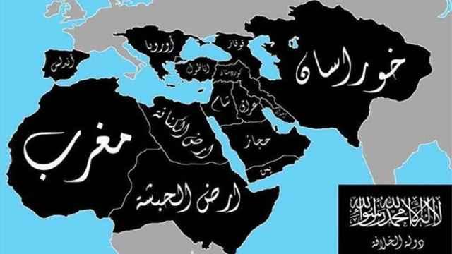 Mapa del califato que el Estado Islámico pretende implantar.