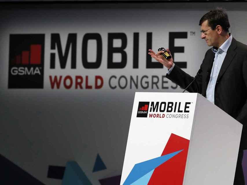 Vittorio Colao, consejero delegado de Vodafone, durante la intervención en el MWC.