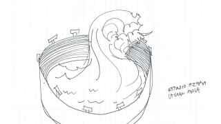 Estadio: la gran ola, uno de los dibujos de Wilfredo Prieto en ARCO 2016.