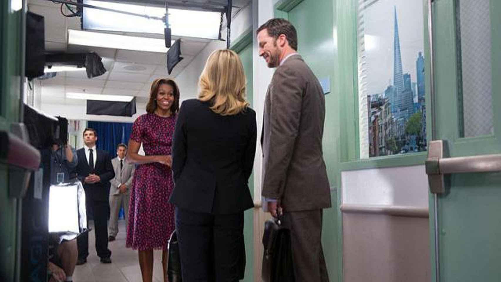 Michelle Obama rodando su cameo en Parks and Recreation