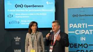 Pere Vallés (Scytl) y Ana Segurado (Open Future Telefónica) durante la presentación en el MWC.