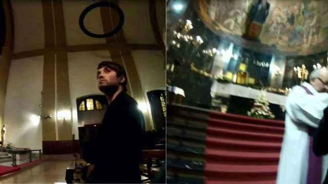 Fotos difundidas por Azcona sobre la apropiación de las hostias