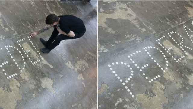 Fotos de Azcona utilizando las formas consagradas