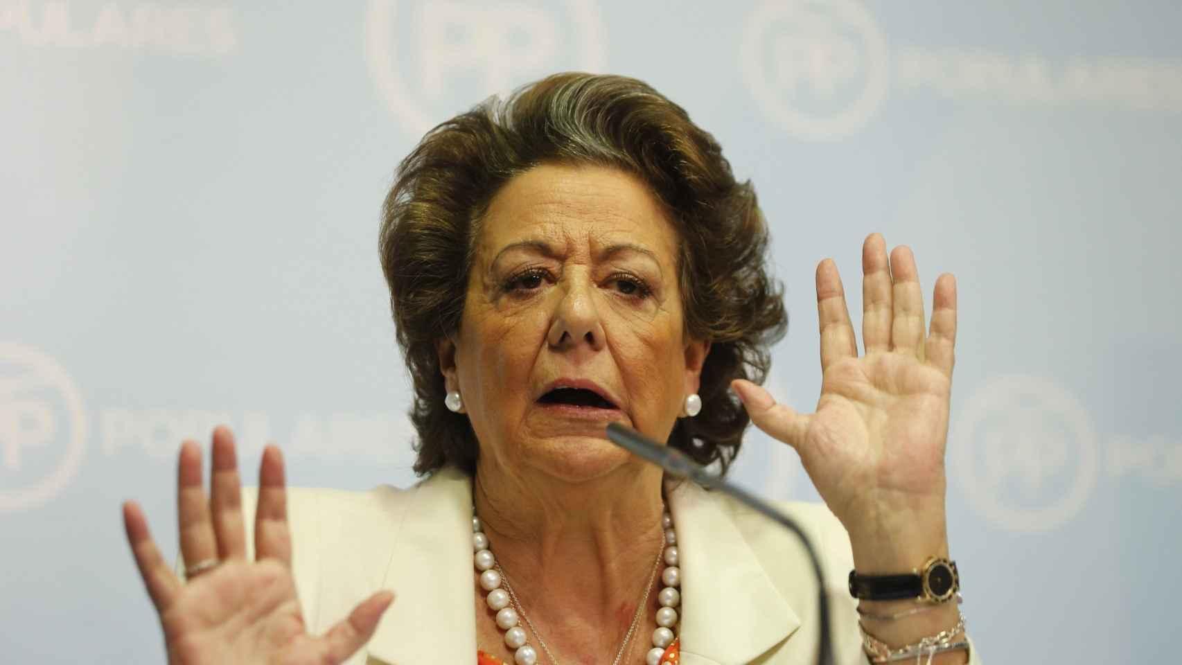 Rita Barberá, durante su última rueda de prensa.