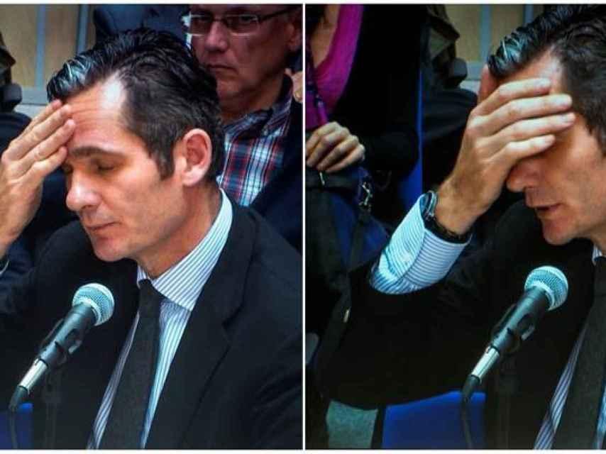 Urdangarín en dos momentos de su declaración en el juicio del caso Nóos