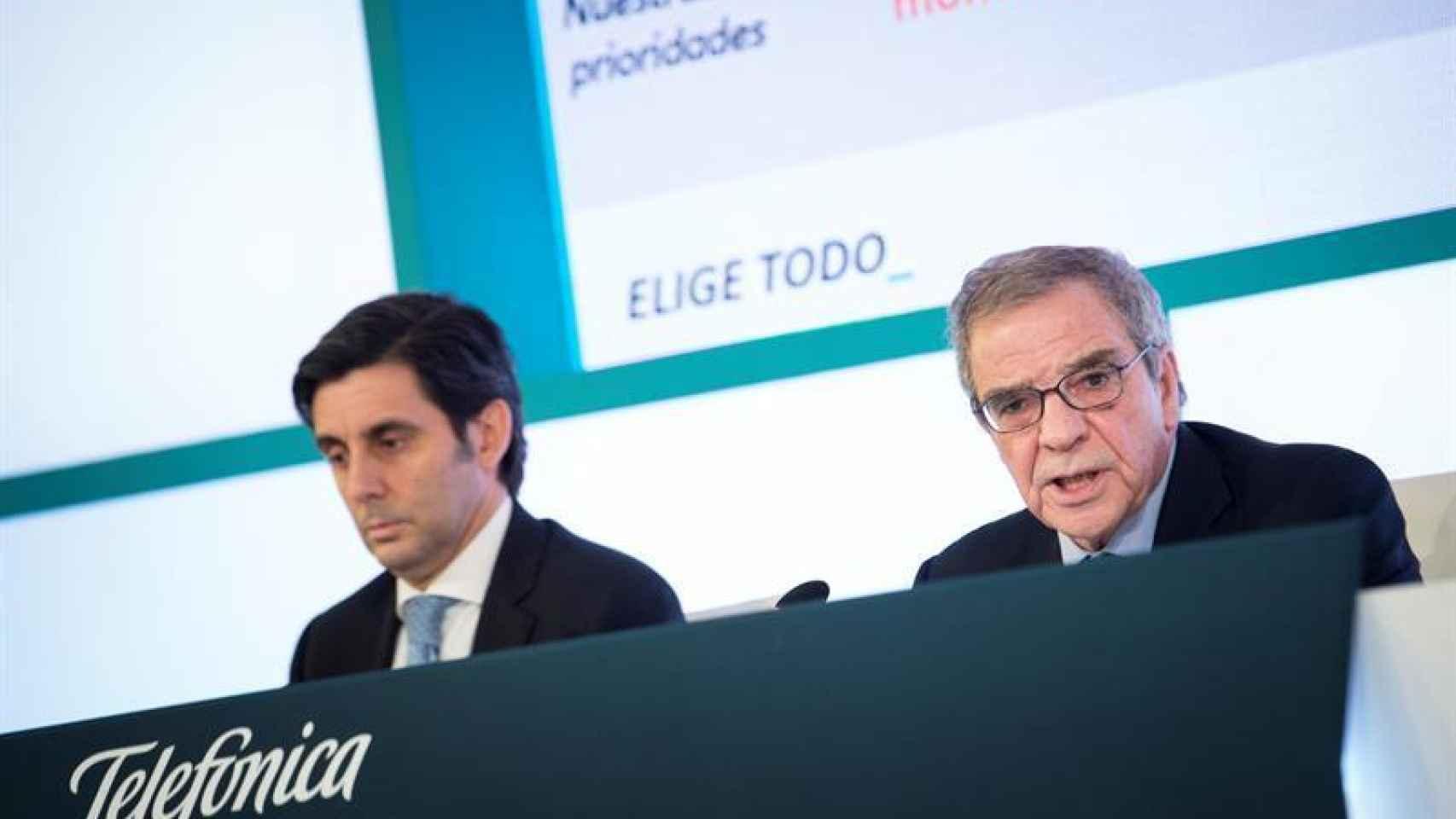 El consejero delegado de Telefónica, José María Álvarez-Pallete, junto al presidente de la 'teleco', César Alierta.