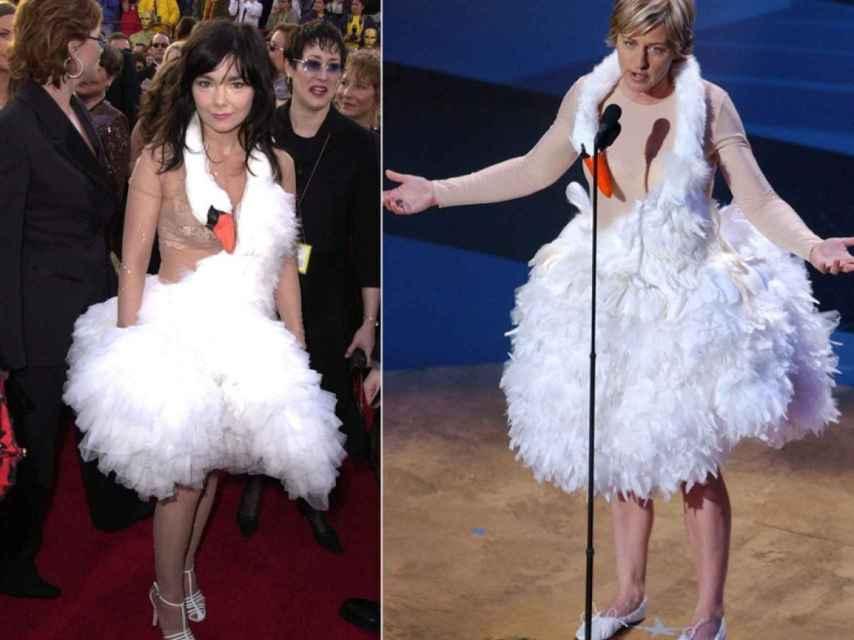 Björk y Ellen DeGeneres en los Oscar de 2001 y 2014