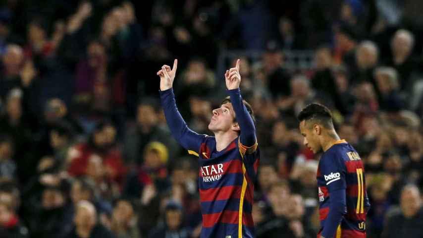 Messi celebra su gol ante el Sevilla