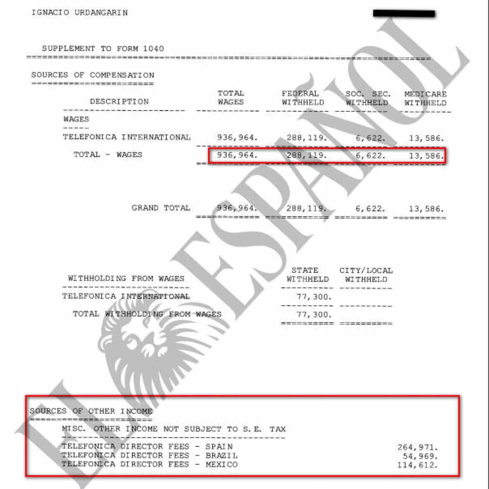 Registro de ingresos cobrados por Iñaki Urdangarin de Telefónica en 2010.
