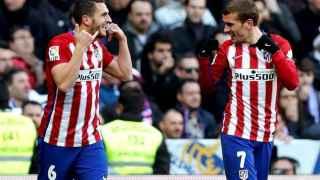 Koke Resurrección celebra el gol de Griezmann en el Bernabéu.