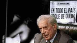 Mario Vargas Llosa en la presentación de su nuevo libro, Cinco esquinas