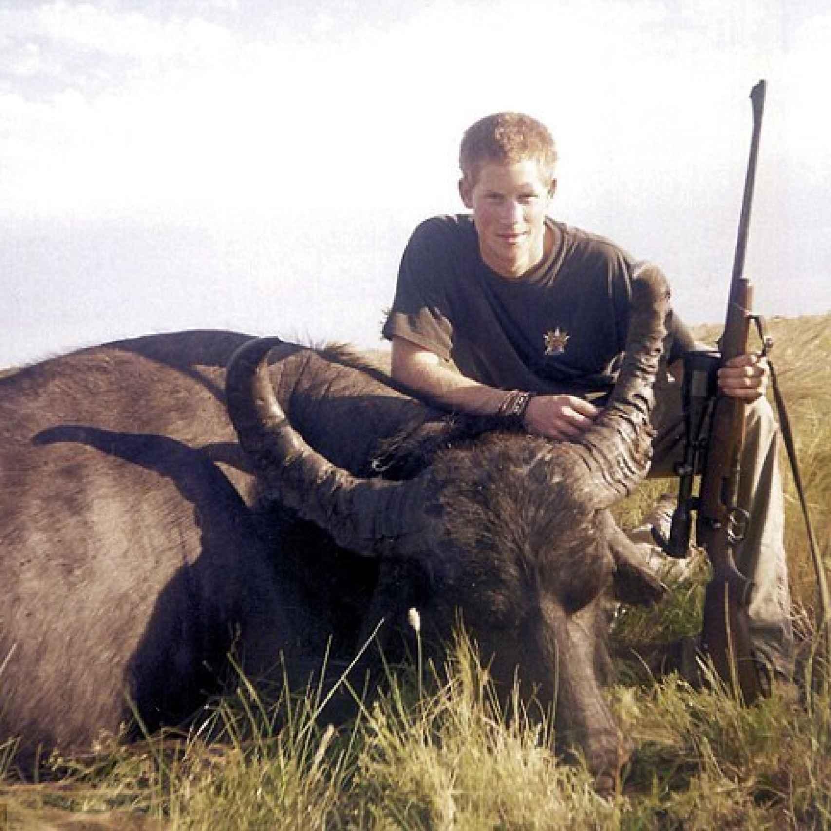 El príncipe Harry posa con una pieza de búfalo americano muerto