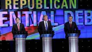 Los candidatos republicanos Rubio, Trump y Cruz.