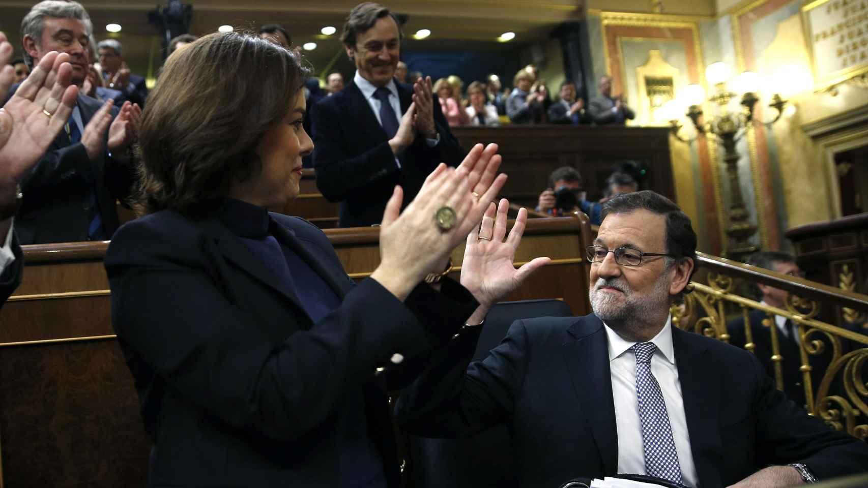 Soraya Sáenz de Santamaría y Mariano Rajoy en la última investidura del Presidente de Gobierno.