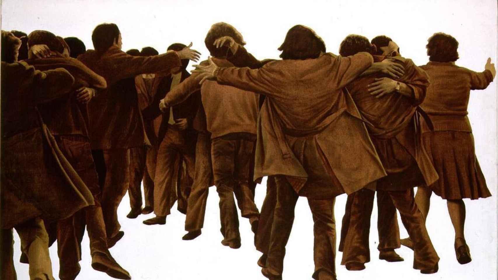 El abrazo, pintado por Juan Genovés.