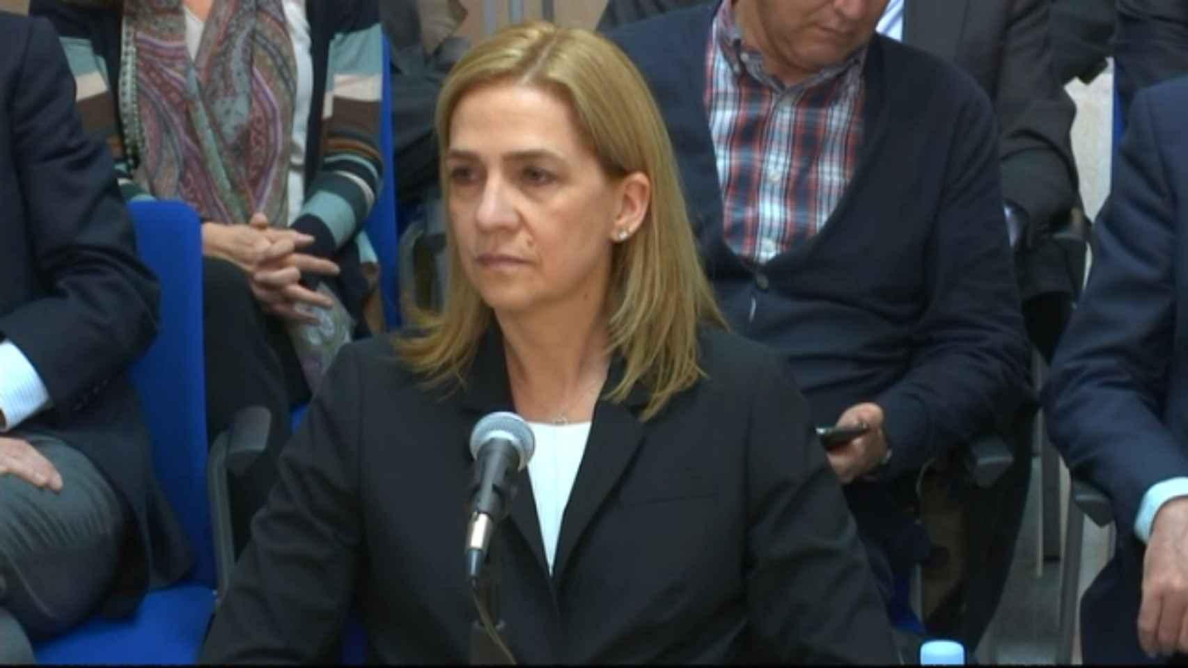 La infanta Cristina, durante su declaración en el juicio de Nóos.