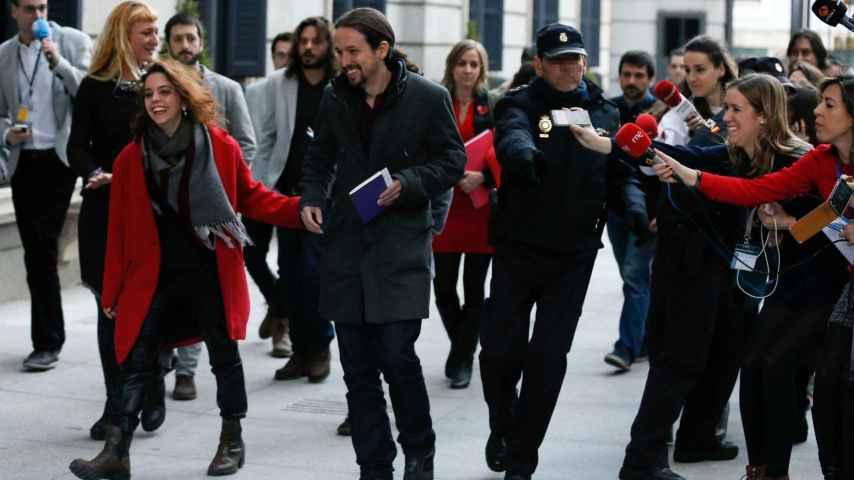 Pablo Iglesias llegando al Congreso.