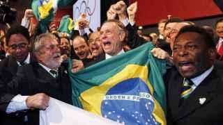 Lula, junto a Carlos Nuzman y Pele, el día de la elección de Río 2016 en Copenhague.
