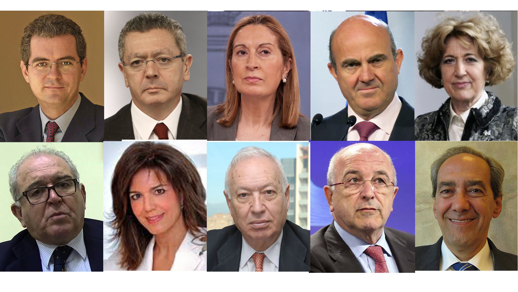 Isla, Gallardón, Pastor, De Guindos, Iglesias, Serra, Moraleda, Margallo, Almunia y González-Páramo.
