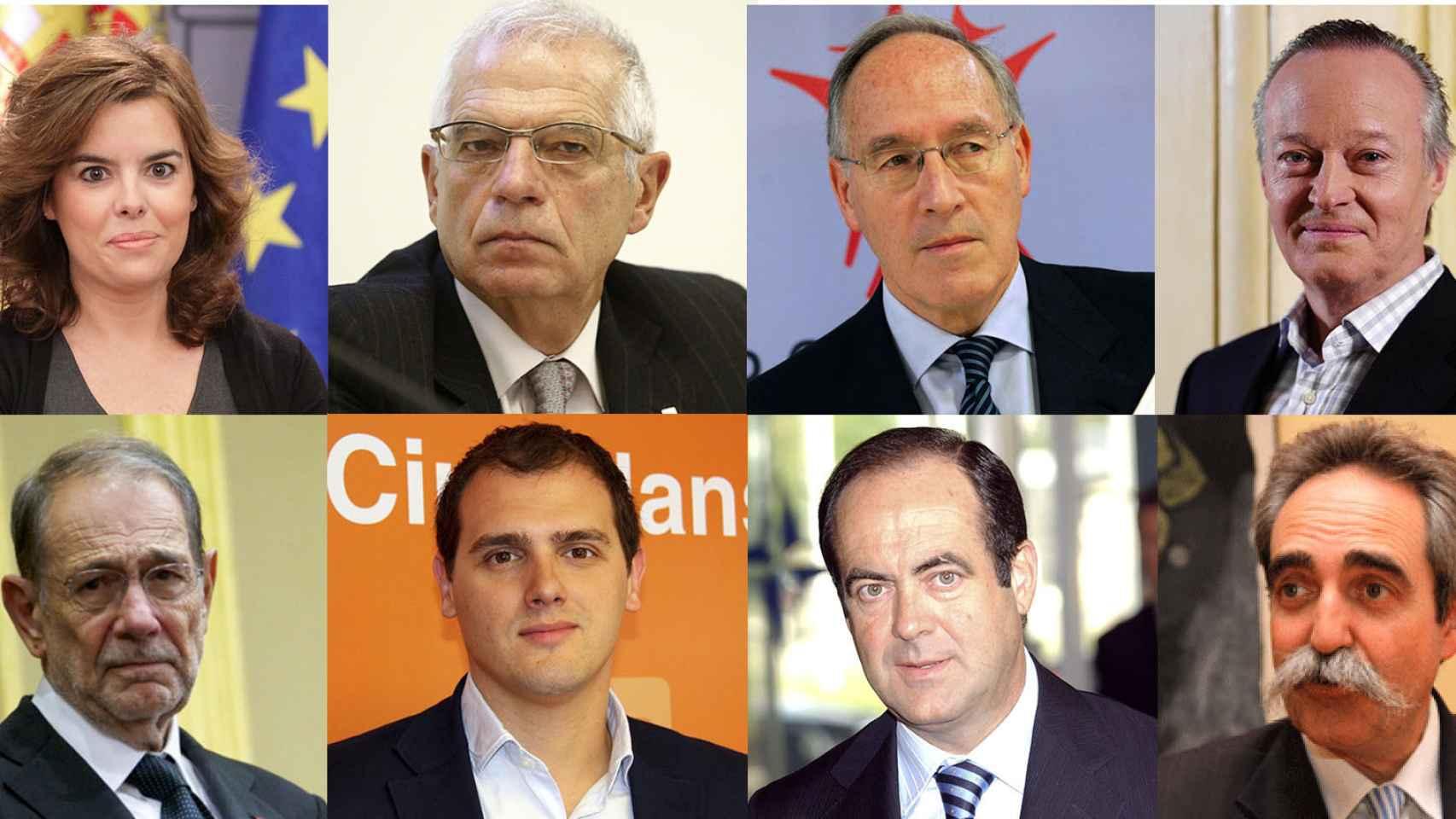 Sáez de Santamaría, Borrell, Pizarro, Piqué, Solana, Rivera, Bono y Zufiría.