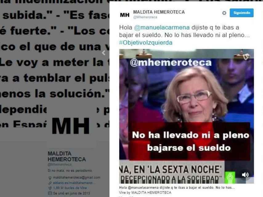 El tuit con la promesa incumplida de Manuel Carmena que desató la polémica.
